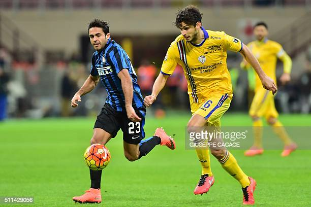 Inter Milan's defender from Italy Eder fights for the ball with Sampdoria's defender from Italy Andrea Ranocchia during the Italian Serie A football...