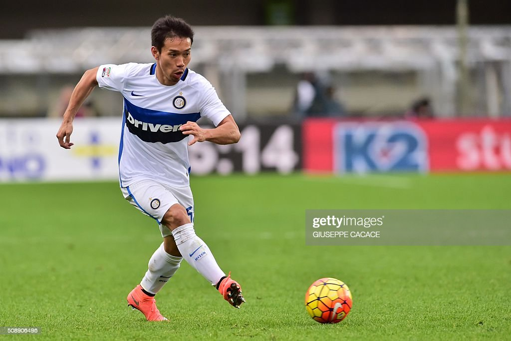 Inter Milan's defender from Japan Yuto Nagatomo controls the ball during the Italian Serie A football match Verona vs Inter Milan at the Bentegodi Stadium in Verona on Febrauary 7, 2016. / AFP / GIUSEPPE CACACE