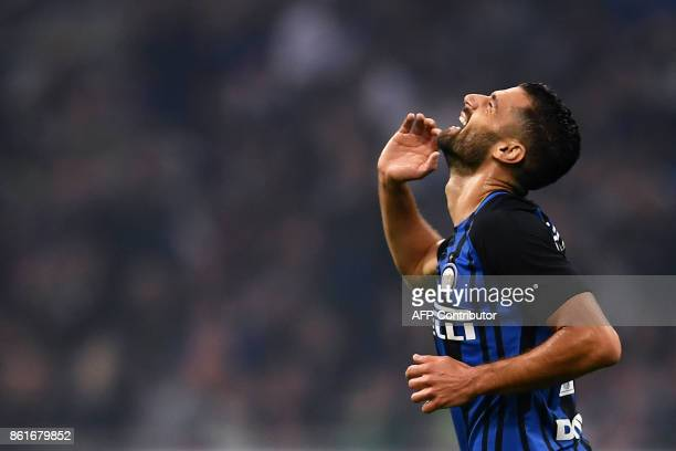 Inter Milan's forward Antonio Candreva from Italy reacts during the Italian Serie A football match Inter Milan Vs AC Milan on October 15 2017 at the...