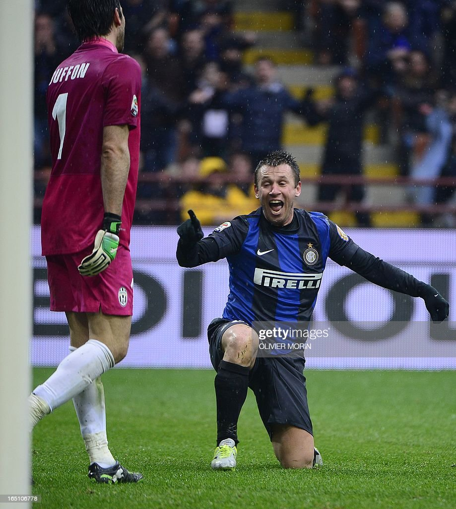 Inter Milan's forward Antonio Cassano reacts during the Italian serie A football match between Inter Milan and Juventus, on March 30, 2013 at the San Siro stadium in Milan.