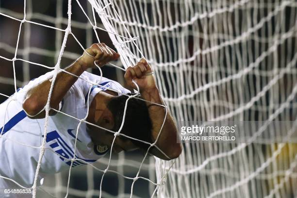 Inter Milan's forward Citadin Martins Eder reacts during the Italian Serie A football match Torino versus Inter Milan on March 18 2017 at the 'Grande...