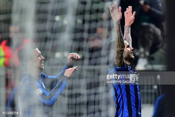 Inter Milan's forward from Argentina Mauro Icardi celebrates after scoring a goal during the Italian Serie A football match Inter Milan' vs...