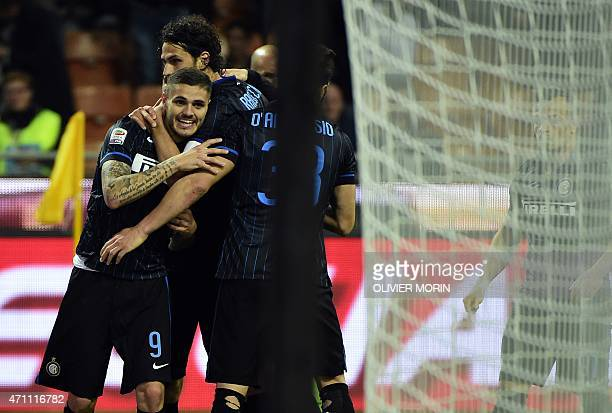 Inter Milan's forward from Argentina Mauro Icardi celebrates after scoring during the Italian Serie A football match Inter Milan vs Roma on April 25...
