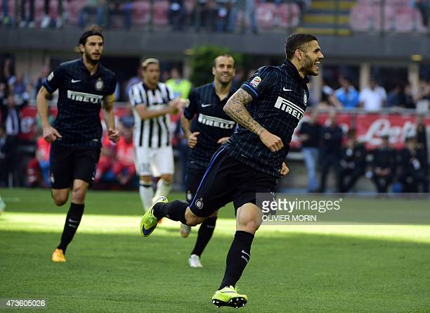 Inter Milan's forward from Argentina Mauro Icardi celebrates after scoring during the Italian Serie A football match Inter Milan vs Juventus on May...