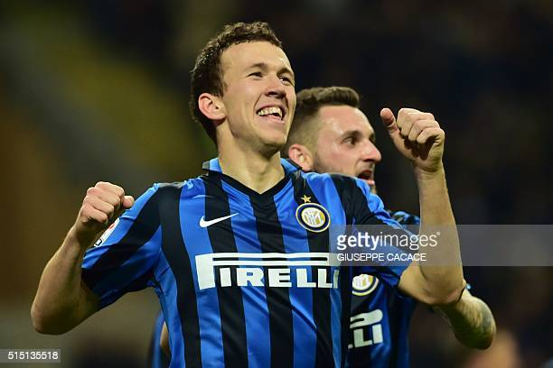 Inter Milan's forward from Croatia Ivan Perisic celebrates after scoring a goal during the Italian Serie A football match between Inter Milan and...