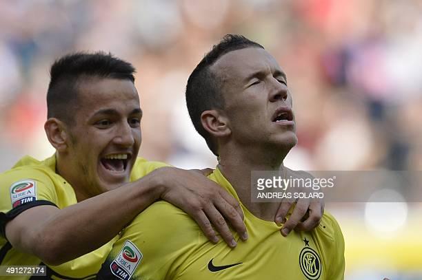 Inter Milan's forward from Croatia Ivan Perisic celebrates after scoring during the Italian Serie A football match Sampdoria vs Inter Milan on...