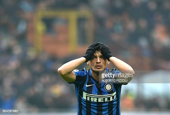 TOPSHOT Inter Milan's forward from Serbia Adem Ljajic reacts after a missing goal during the Italian Serie A football match InterMilan vs Ac Sassuolo...