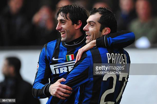 Inter Milan's forward Goran Pandev celebrates after scoring with teamplayer Diego Milito during their Serie A football match Inter Milan vs Cagliari...