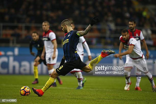 Inter Milan's forward Mauro Emanuel Icardi from Argentina scores a penalty during the Italian Serie A football match Inter Milan Vs Crotone on...