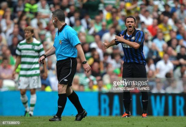 Inter Milan's Giampolo Pazzini complains to the referee