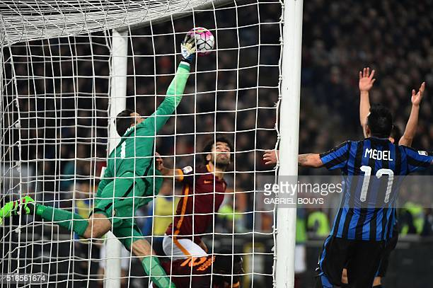Inter Milan's goalkeeper from Slovenia Samir Handanovic saves a goal during the Italian Serie A football match between AS Roma and Inter Milan on...