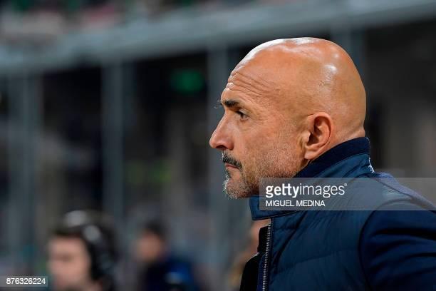 Inter Milan's head coach Luciano Spalletti looks on during the Italian Serie A football match Inter Milan vs Atalanta at the San Siro stadium in...