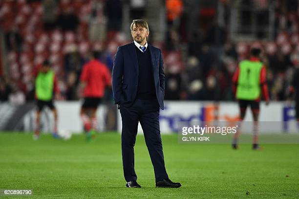 Inter Milan's interim coach Stefano Vecchi looks on before the UEFA Europa League group K football match between Southampton and Inter Milan at St...