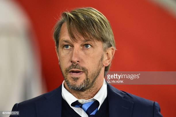 Inter Milan's interim coach Stefano Vecchi looks on during the UEFA Europa League group K football match between Southampton and Inter Milan at St...