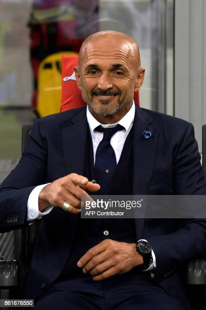 Inter Milan's Italian coach Luciano Spalletti before the Italian Serie A football match Inter Milan Vs AC Milan on October 15 2017 at the 'San Siro...