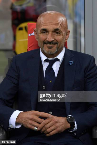Inter Milan's Italian coach Luciano Spalletti looks on before the Italian Serie A football match Inter Milan Vs AC Milan on October 15 2017 at the...