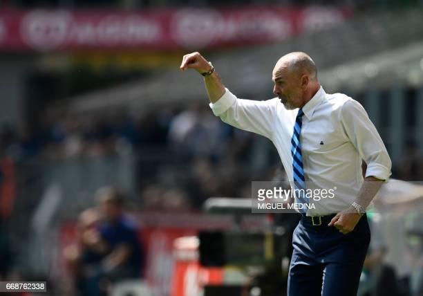 Inter Milan's Italian coach Stefano Pioli gestures during the Italian Serie A football match Inter Milan vs AC Milan at the San Siro stadium in Milan...