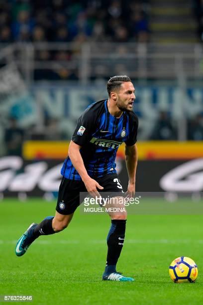 Inter Milan's Italian defender Danilo D'Ambrosio controls the ball during the Italian Serie A football match Inter Milan vs Atalanta at the San Siro...