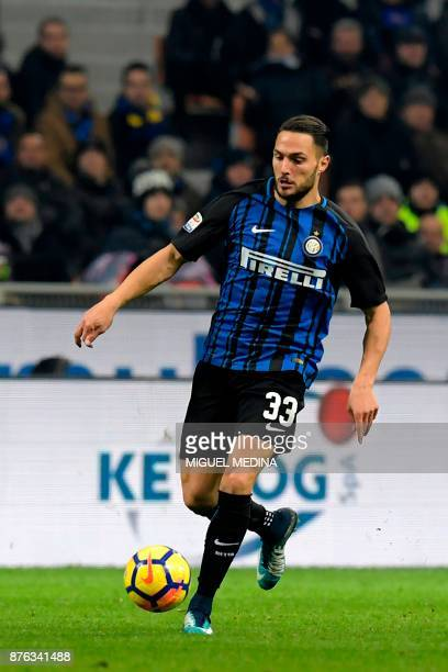 Inter Milan's Italian defender Danilo D'Ambrosio controls the ball during the Italian Serie A football match between Inter Milan and Atalanta at the...