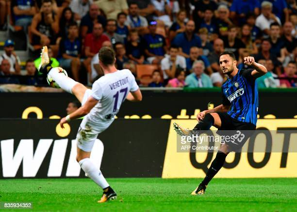 Inter Milan's Italian defender Danilo D'Ambrosio kicks the ball during the Italian Serie A football match Inter Milan vs Fiorentina at the San Siro...