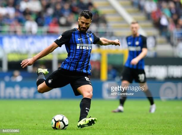 Inter Milan's Italian midfielder Antonio Candreva kicks the ball during the Italian Serie A football match between Inter Milan and Spal at San Siro...
