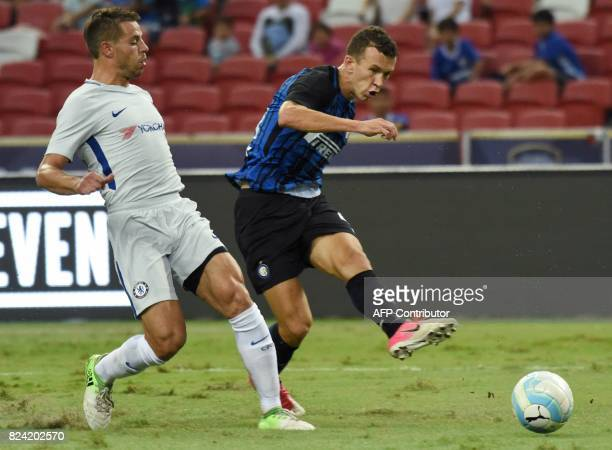Inter Milan's Ivan Perisic scores against Chelsea during their International Champions Cup football match in Singapore on July 29 2017 / AFP PHOTO /...