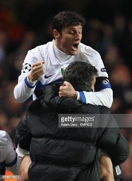 Inter Milan's Javier Zanetti celebrates with Francesco Toldo after their team mate Samuel Eto'o scored the winning goal