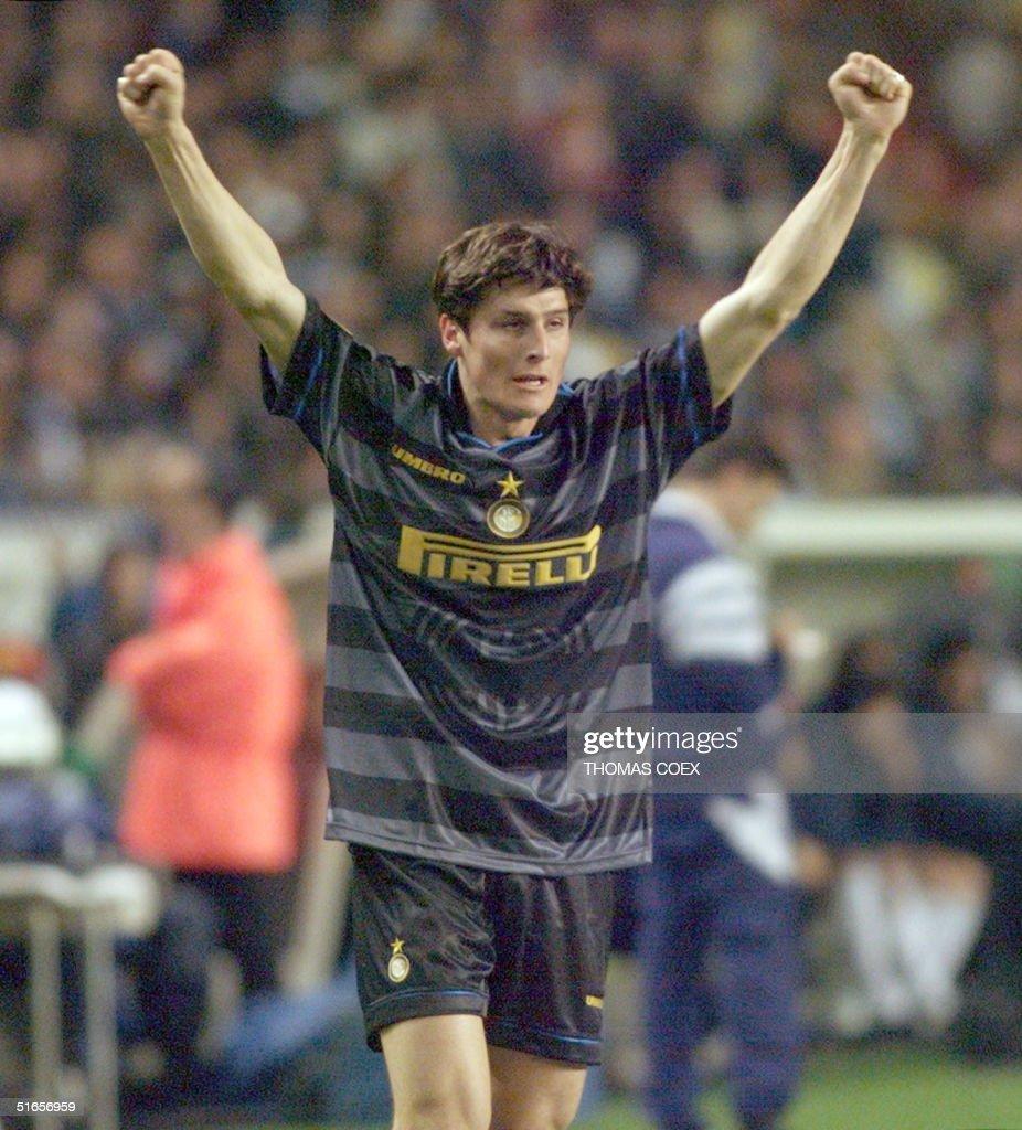 Inter Milan s Javier Zanetti exults after scoring