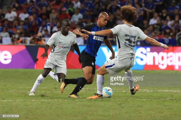 Inter Milan's Joaa Mario competes against Chelsea during their International Champions Cup football match in Singapore on July 29 2017