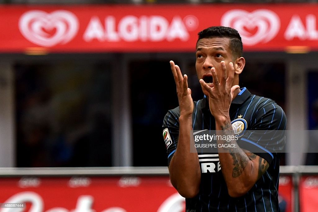 Inter Milan's midfielder from Colombia Fredy Guarin reacts during the Italian Serie A football match Inter Milan vs Parma at San Siro Stadium in...
