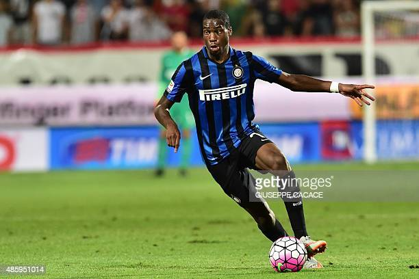 Inter Milan's midfielder from France Geoffrey Kondogbia controls the ball during the Italian Serie A football match Carpi Vs Inter Milan at the...