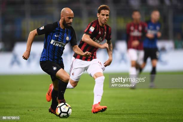 Inter Milan's midfielder Iglesias Borja Valero from Spain controls the ball during the Italian Serie A football match Inter Milan Vs AC Milan on...