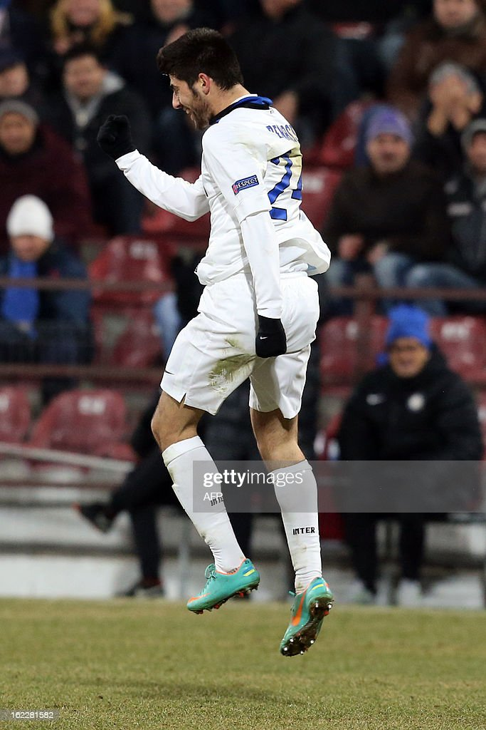 Inter Milan's midfielder Marco Benassi celebrates after scoring during the UEFA Europa League Round of 32 football match CFR 1907 Cluj vs Inter Milan in Cluj, northern Romania on February 21, 2013. AFP PHOTO / MIRCEA ROSCA