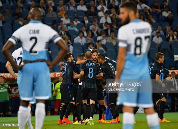 Inter Milan's player celebrate after scoring during their Italian Serie A football match Lazio vs Inter Milan at the Olympic stadium in Rome on May...