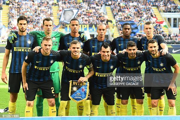 Inter Milan's players Ivan Perisic Garry Medel Ever Banega Antonio Candreva Mauro Icardi Geoffrey Kondogbia Andrea Ranocchia Joao Miranda Senna...