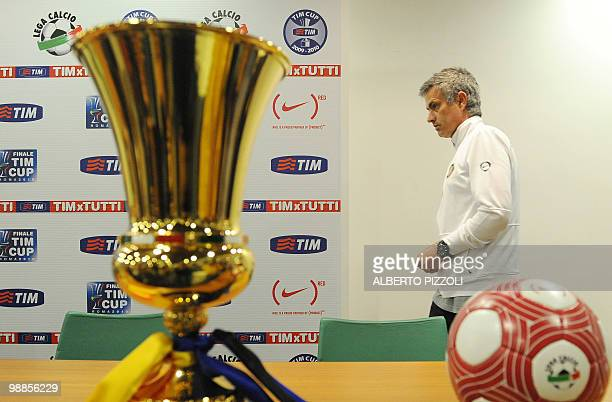Inter Milan's Portuguese coach Jose Mourinho attends a press conference on the eve of Italy's TIM Cup Inter Milan vs AS Roma football match final on...