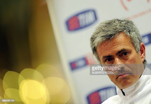 Inter Milan's Portuguese coach Jose Mourinho looks on during a press conference on the eve of Italy's TIM Cup Inter Milan vs AS Roma football match...