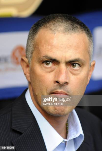 Inter Milan's Portuguese coach Jose Mourinho waits for the start of his team's Italian Serie A match against Genoa on October 26 2008 at San Siro...