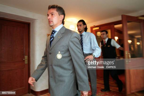 Inter Milan's Roberto Baggio arriving in Manchester for the Champions League tie against Manchester United