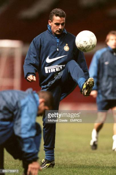 Inter Milan's Roberto Baggio during training at Old Trafford prior to the Champions League tie against Manchester United