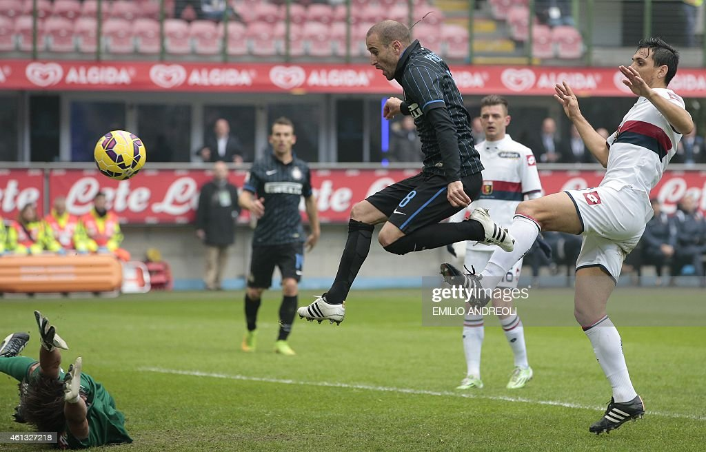 Inter Milan's Rodrigo Palacio scores during the Italian Serie A football match Inter Milan vs Genoa on January 11 2015 at the San Siro stadium in...