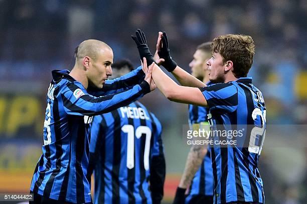 Inter Milan's Serbian forward Adem Ljajic celebrates after scoring a goal during Italian Serie A football match between Inter Milan and Palermo at...