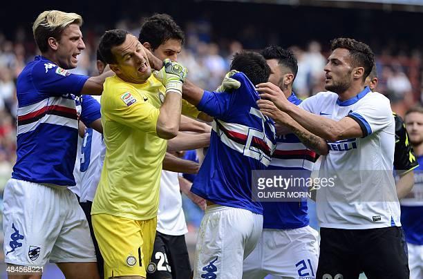 Inter Milan's Slovenian goalkeeper Samir Handanovic argues with Sampdoria's forward Citadin Martins Eder of Brazil during the Italian Serie A...
