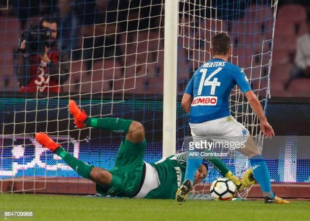 Inter Milan's Slovenian goalkeeper Samir Handanovic makes a save against Napoli's Belgian striker Dries Mertens during the Italian Serie A football...