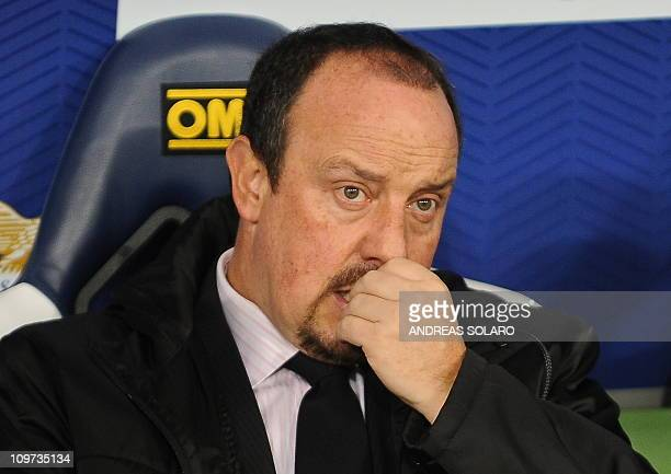 Inter Milan's Spanish coach Rafael Benítez looks before his team's Serie A football match Inter Milan in Rome's Olympic Stadium on December 3 2010...