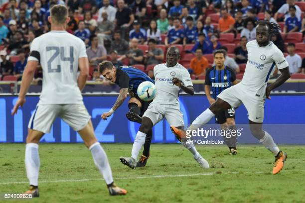 Inter Milan's StevanJovetic attempts a shot on goal against Chelsea during their International Champions Cup football match in Singapore on July 29...