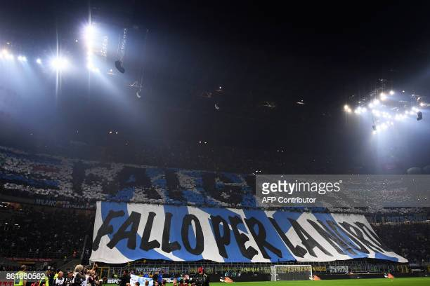 Inter Milan's supporters deploy a giant banner reading 'Score a goal do it for the Nord' Italian coach Luciano Spalletti before the Italian Serie A...