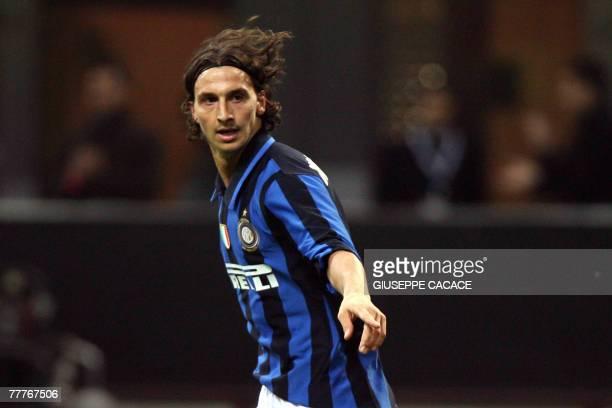 Inter Milan's Swedish forward Zlatan Ibrahimovic celebrates after scoring during the UEFA Champions League Group G qualification match between Inter...