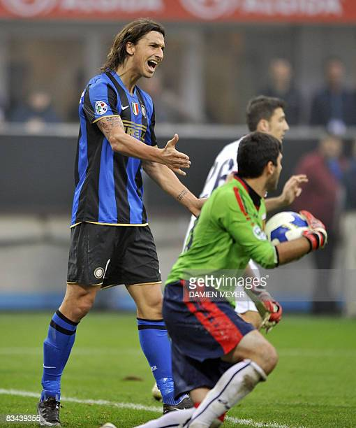 Inter Milan's Swedish forward Zlatan Ibrahimovic reacts after Genoa's Brazilian goalkeeper Rubens Fernando Moedim Rubinho grabbed the ball during...