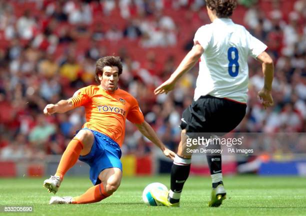 Inter Milan's Zlatan Ibrahimovic battles against Valencia's David Albelda during the Emirates Cup match at the Emirates Stadium London